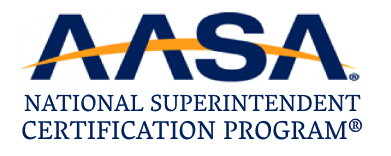 AASA National Superintendent Certification Program with registration marks